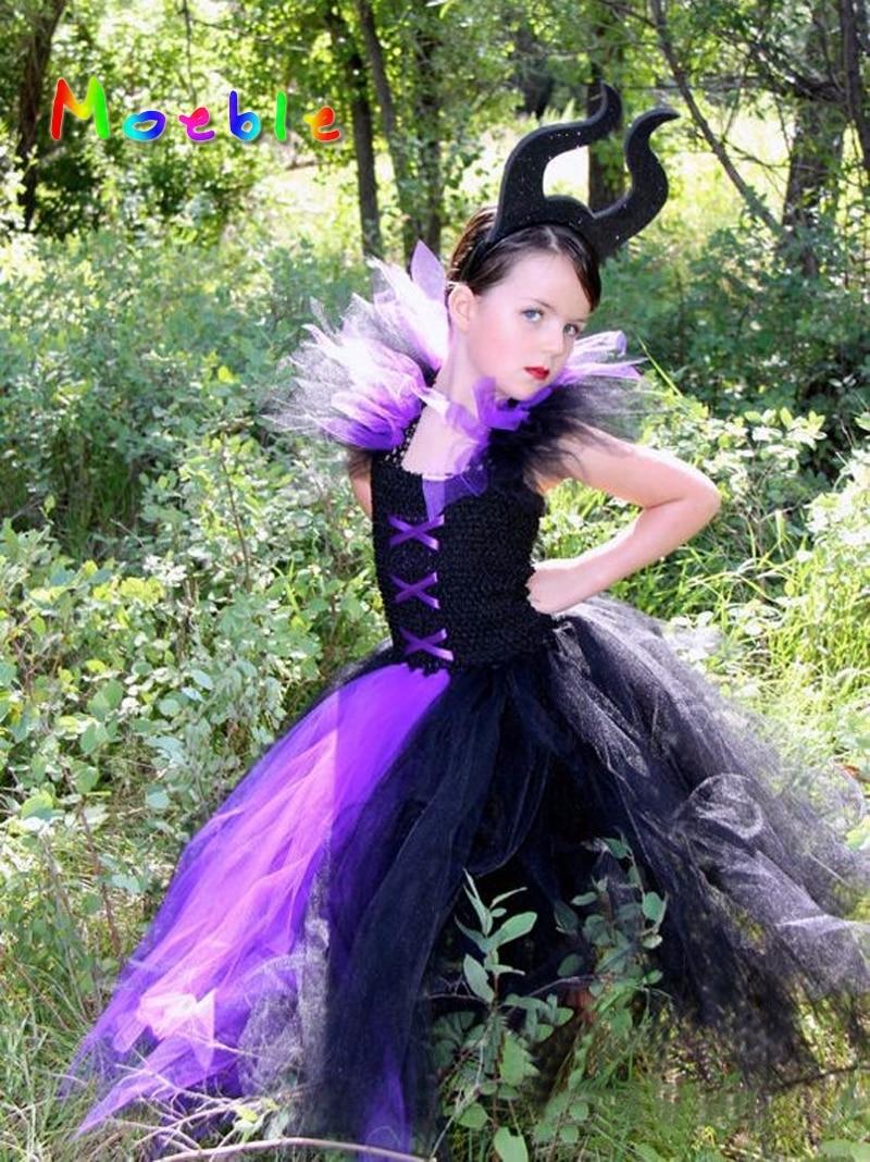 Black&Purple Maleficent Evil Queen Girl Tutu Dress Kids Girls Cosplay Party Dresses Girl Clothes Long Dress Baby Photo Props maleficent evil queen girl tutu dress with horns halloween photo prop purim kids baby fancy costume handmade dress ts127