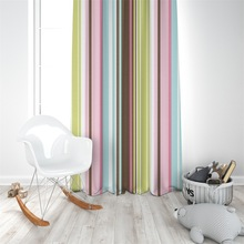 Teenage girl room Light pink blue Colored vertical stripes curtain polyester Digital printing Partition custom made