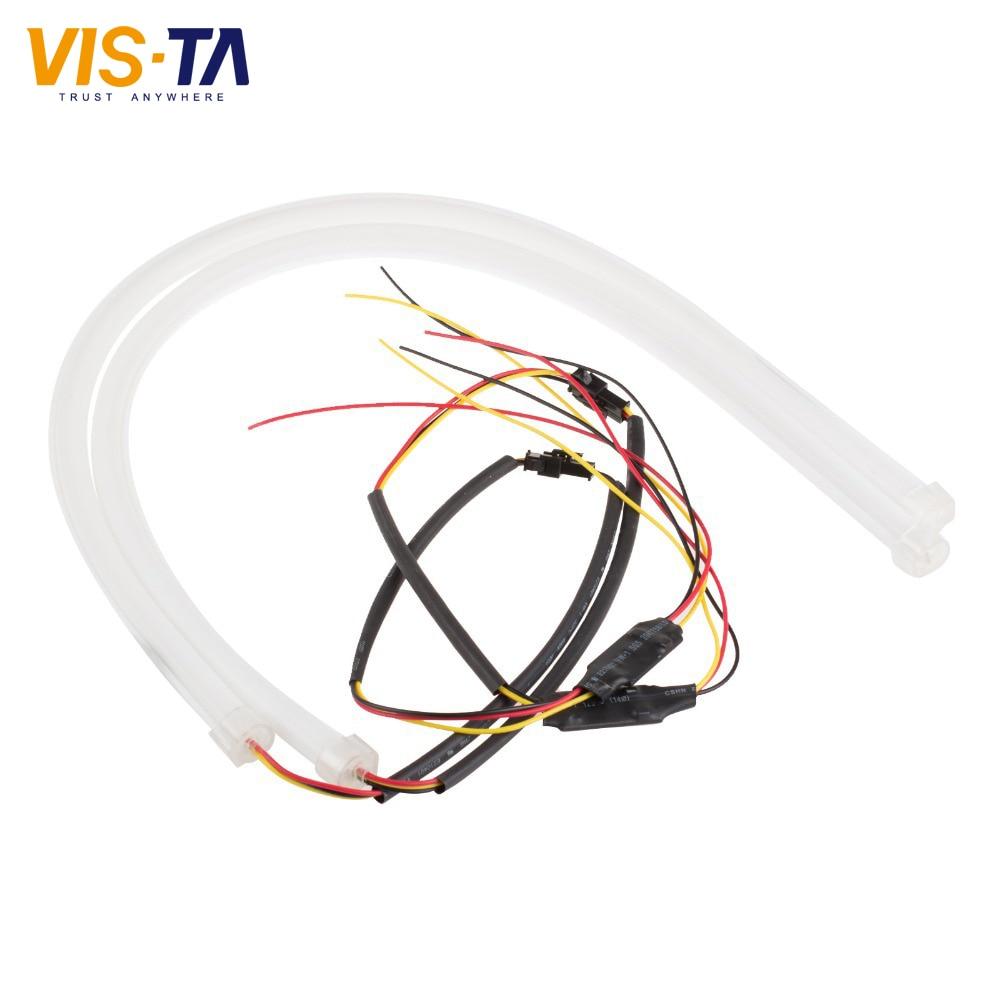 İsti 2PCS 60cm DRL çevik LED boru kəmər zolağı üslubu gündüz - Avtomobil işıqları - Fotoqrafiya 5