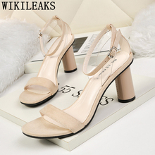 Dress Shoes Leather Sandals Thick Heel Women Mary