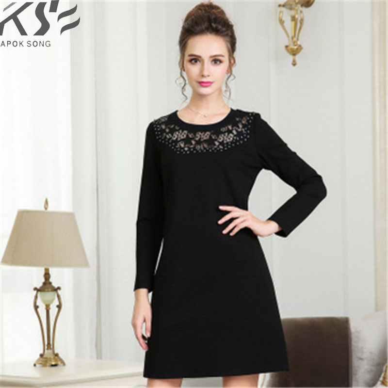 2018 Summer New European and American lace splice nail ball trim dress