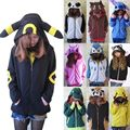 Cute Cosplay Anime Costume Ears Face Tail Zip Hooded Sweatshirt Hoodies Jacket Umbreon Pikachu