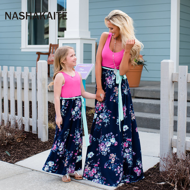 HTB1U.BRaiLxK1Rjy0Ffq6zYdVXaM - NASHAKAITE Mother daughter dresses Floral Printed Long Dress Mommy and me clothes Family matching clothes Mom and daughter dress