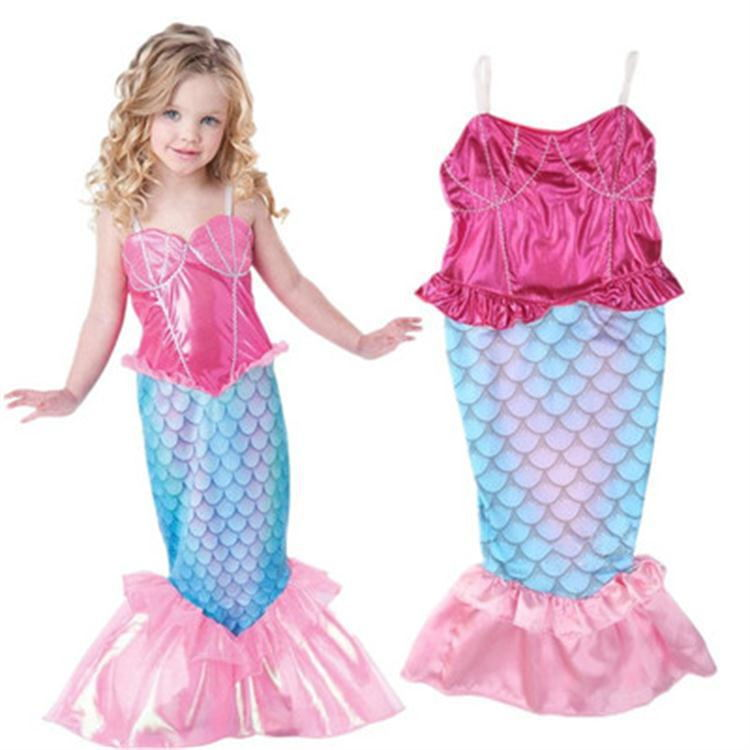 New Girls Mermaid Long Dresses Children Halloween Carnival Little Mermaid Cosplay Costumes Party Dress For Kids Girls Clothes