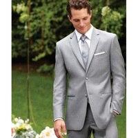 Silber Bräutigam Smoking hochwertige Zwei Tasten Kerbe Revers Herrenanzug Hochzeit Bräutigam Anzüge (Jacke + Hose + weste + tie)
