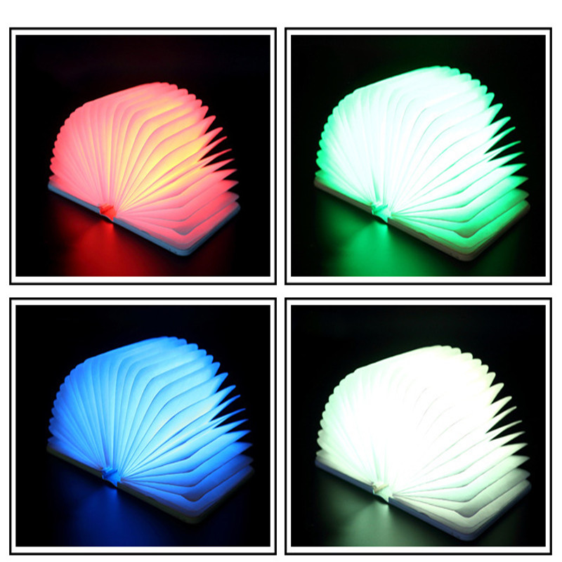 Novelty LED Night Light Folding Book Light Creative Table Lamp Home Decorative USB Rechargeable Lamps White/Warm/Blue/Red Light led night light folding pages book light creative usb port rechargeable desk lamp wooden magnet cover home table light lamp