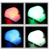 Novelty LED Night Light Folding Book Light Creative Table Lamp Home Decorative USB Rechargeable Lamps