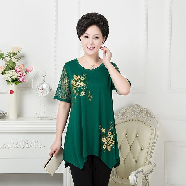 T Shirts Hot Older Women Mother Clothing Summer T Shirt -8024