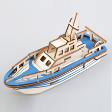 Mini Lifeboat Model Ship 3D Wood Model Puzzle Kit Wooden Speedboat Cruise Decoration Diorama Jigsaw Toys For Children