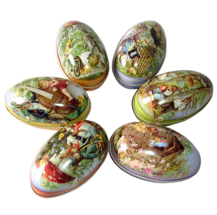 Wholesale 100pcs/lot Big Size Easter Egg Tin Box Mixed Pattern Wedding Candy Box Storage Case SN389