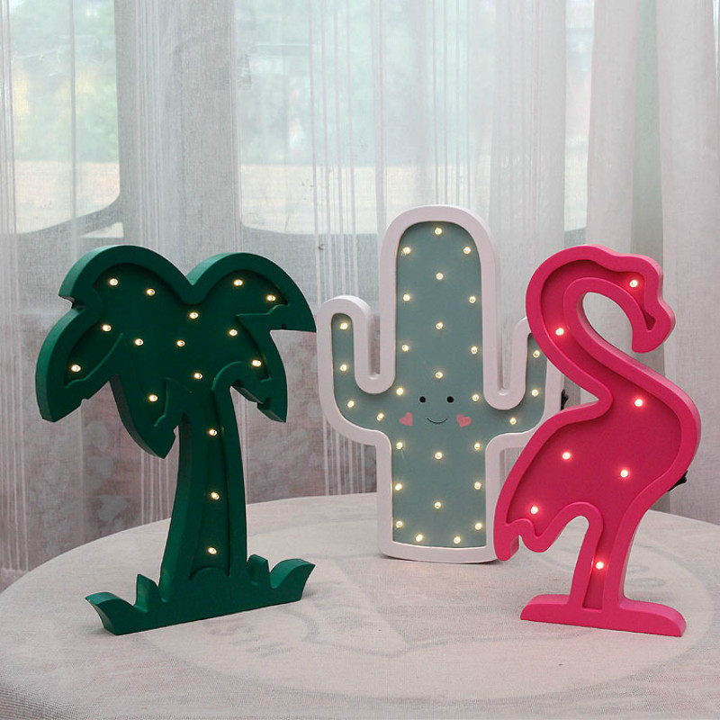 Jiaderui Led Kids Night Light Wooden Flamingo Table Lamp Cactus Children Gift Wall Lamp Bedroom Living Room Home Indoor Decorate jiaderui ballon led night lamp wooden table light for kids gift bedside bedroom living room indoor lighting home decoration