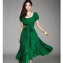2016 elegante Chiffon Kleider Sommer Grün Chiffon Kleid Frauen Robe Plus Größe Unregelmäßigen Abendgesellschaft Kleider Vestidos Ukraine