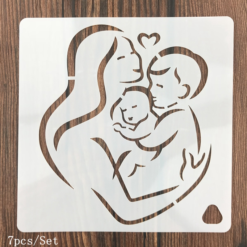 7pcs/set Mom's Love Craft Hollow Layering Stencils For Wall Painting Scrapbooking Stamping Album Decorative Embossing Paper Card