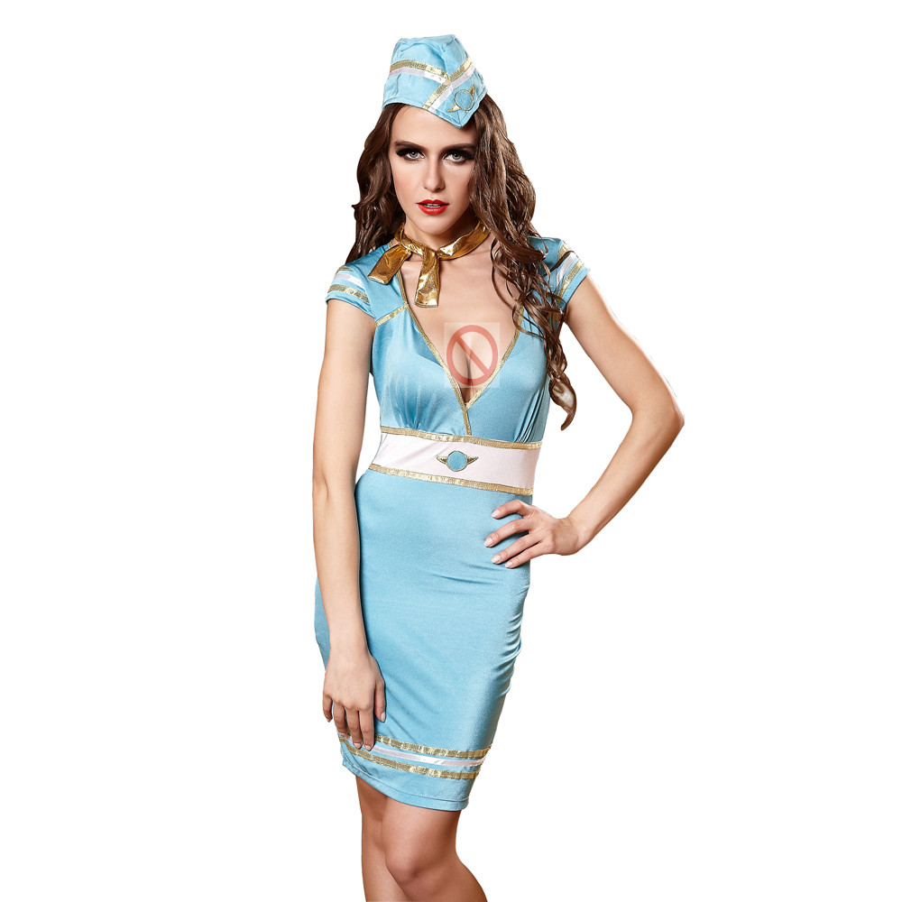 Woman Sexy Sailor Costume Role Playing Airline Stewardess Cosplay Costume Lady Erotic Deep V Neck Dress