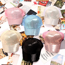 Летняя спортивная шапка Девочки Мальчики Бейсбол Кепки Блестки Bling Hinning сетки бейсболка с возможностью регулировки размера дети Повседневное хип-хоп Кепки LD110