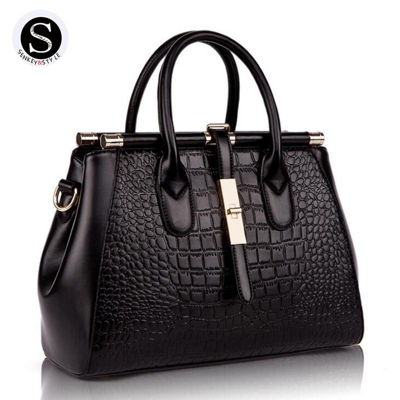 Senkey Style 2017 Genuine Leather Alligator Luxury Handbags Women Bag Designer Women Messenger Bags Handbags Women