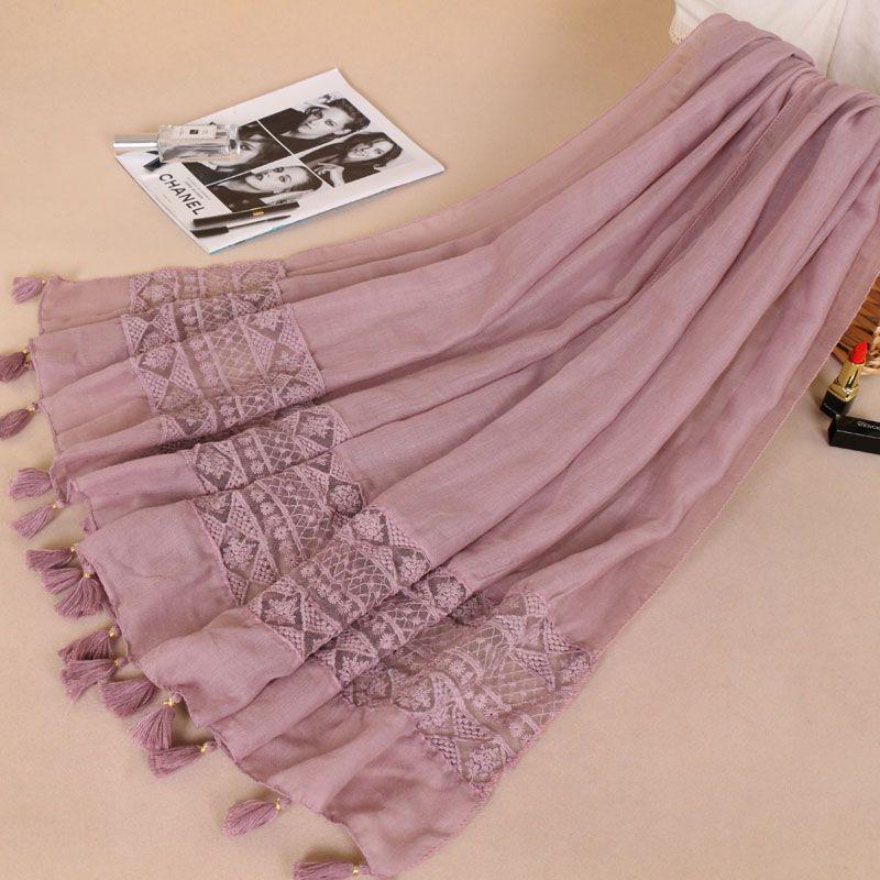 Women Fashion Plain Lace Floral Patchwork Viscose Shawl Scarf Luxury Brand Laser Cut Long Size Bufandas Muslim Hijab Wrap Snood