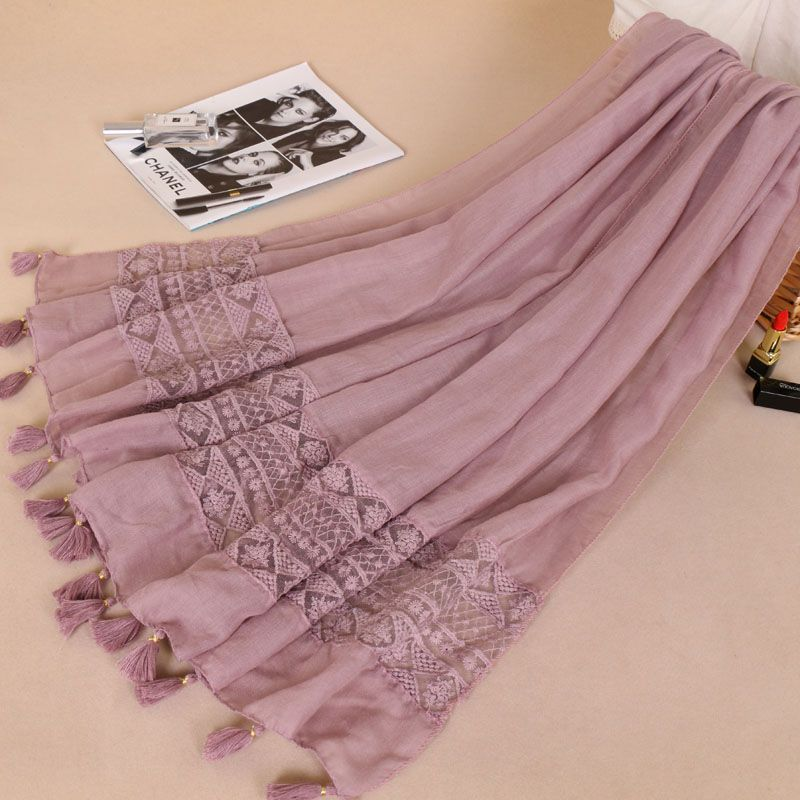 Women Fashion Plain Lace Floral Patchwork Viscose Shawl   Scarf   Luxury Brand Laser Cut Long Size Bufandas Muslim Hijab   Wrap   Snood