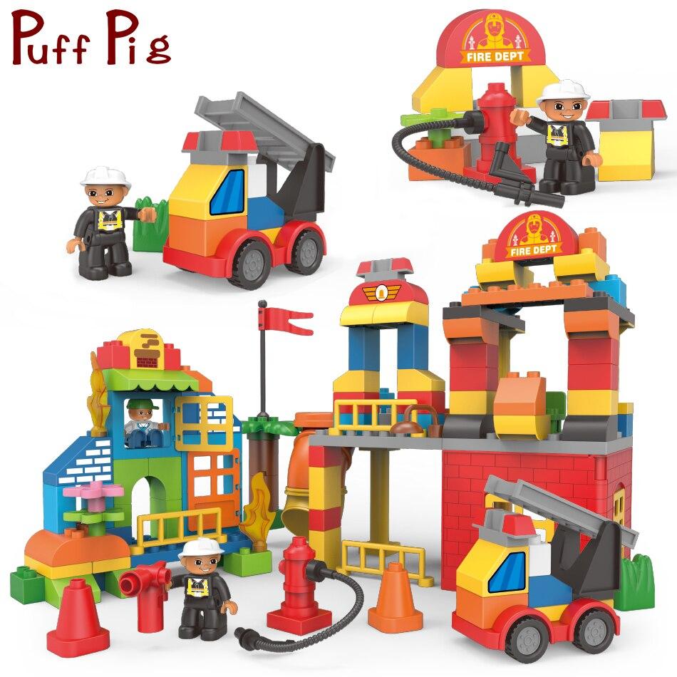 124 pièces bricolage créatif pompiers camion Figure grande taille blocs de construction legorreta Duploe ville éducation jouets pour enfants