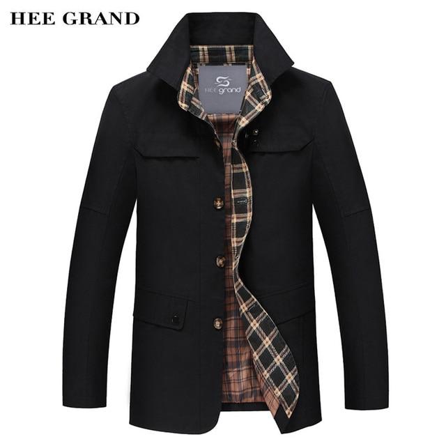 Hee grand hombres mezclas de moda 2017 venta caliente de la manga completa del cuello alto capa del otoño del resorte 5 colores mwf277