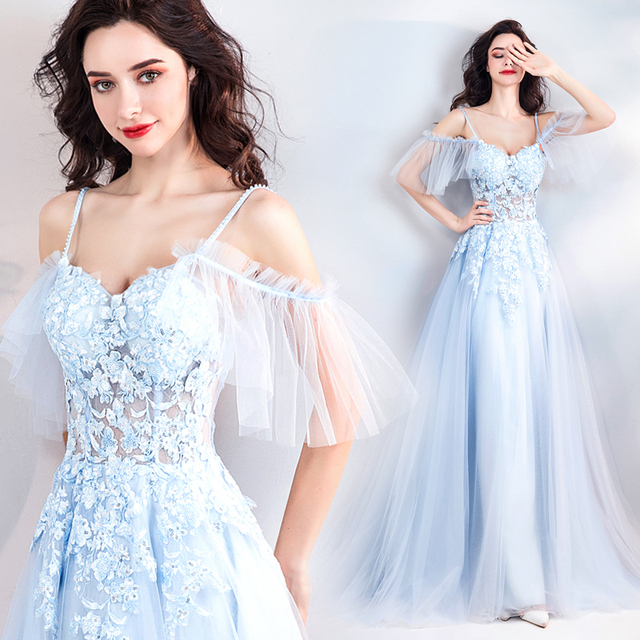 Backlakegirls Baby Blue 3d Flowers Evening Dress Sexy Spaghetti Strap With  Pearls Appliques Lace Long Evening Gowns Kaftan Dubai 93abafea29c4