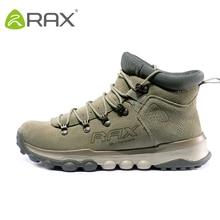 RAX Men Genuine Leather Hiking Shoes Outdoor Waterproof Women Warm Sneakers Breathable Outdoor Sports Shoes Men Walking Sneakers