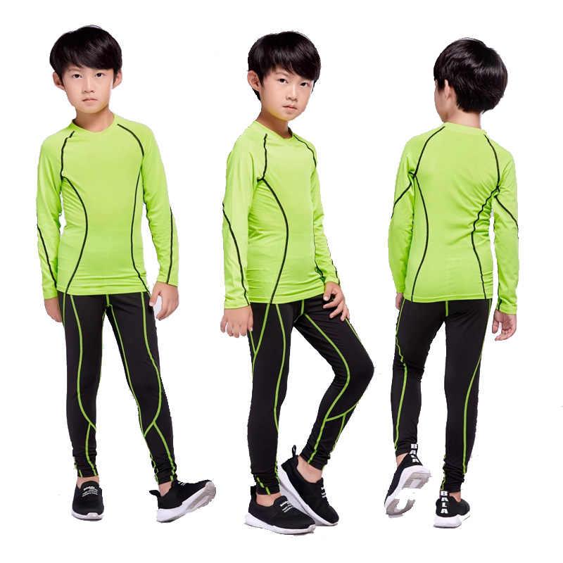 Мальчик Лыжный термобелье комплект базовый слой быстросохнущие спортивной Бег костюм компрессионные колготки детей термобелье комплект