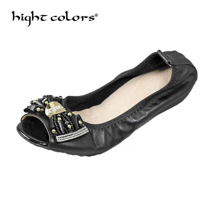2018 summer new large size cowhide comfortable mother shoes fish mouth bow soft bottom flat ballet women's shoes 35~43
