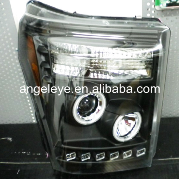 For FORD Raptor F250 F350 F450 F550 LED Head Light Angel Eyes Black Color 2011-2014 Year ...