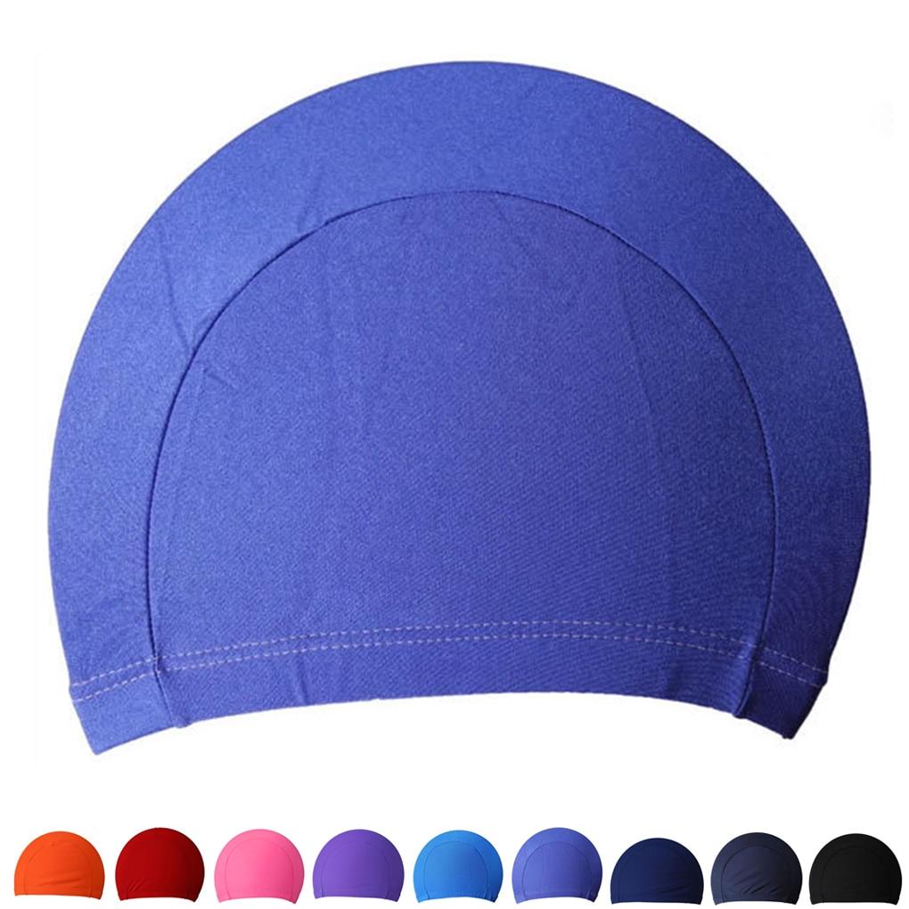 Gorra Sombrero Gorro Piscina Natación Tapones De Baño De Tela Adultos proteger el pelo largo Orejas Deportes