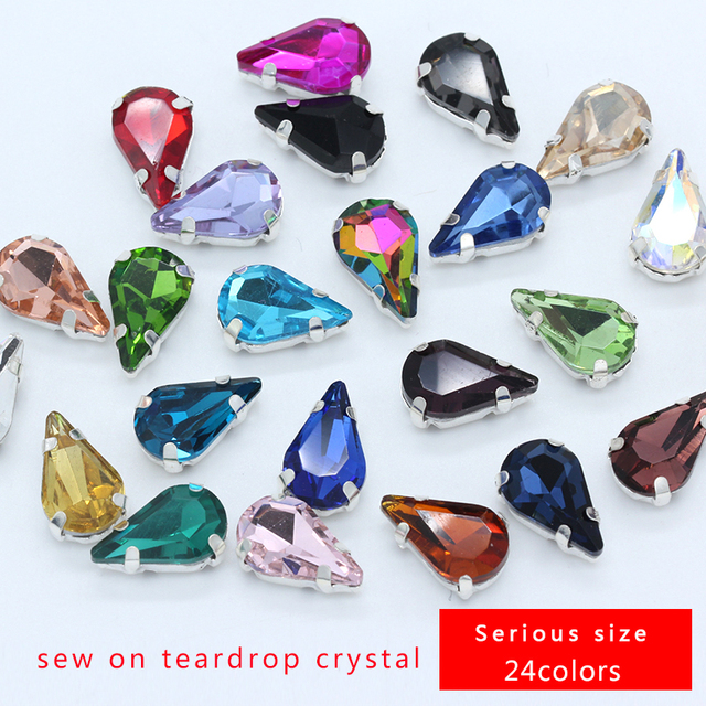 5x8mm 6x10mm 8x13mm 24-colors Teardrop crystal glass stone sew on flatback rhinestone  jewel silver base button for Clothes Craft 873e93f2ed07