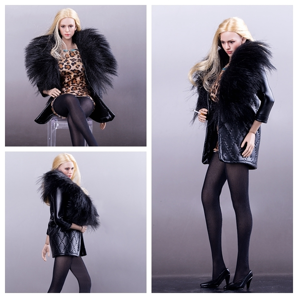 1/6 Scale Female Clothes for dolls Fur Collar Leather Coat+Leopard Mini Skirt Suit Fit 12inch Phicen Figure 1/6 Scale Female Clothes for dolls Fur Collar Leather Coat+Leopard Mini Skirt Suit Fit 12inch Phicen Figure