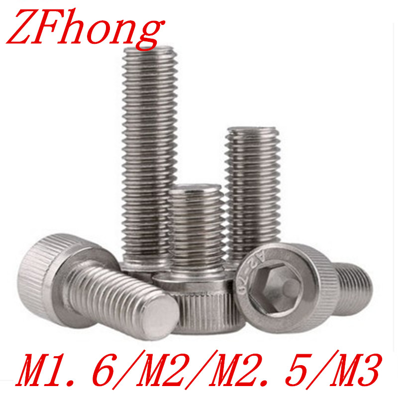 все цены на 50pcs/lot din912 M2*3/4/5/6/8/10/12/16/20 2mm thread stainless steel hex allen socket cap machine screw онлайн
