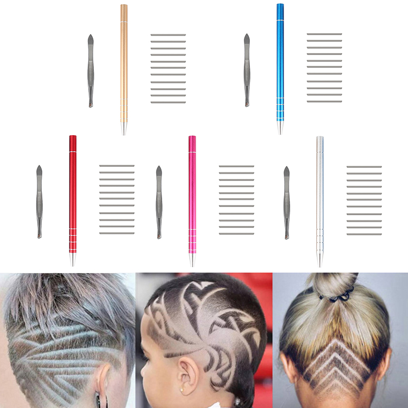 5 Colors 1Pcs Salon Engraved Pen with 10Pcs Blades Professional Trimmers Hair Styling Eyebrows Shaving Hair Styling Accessory