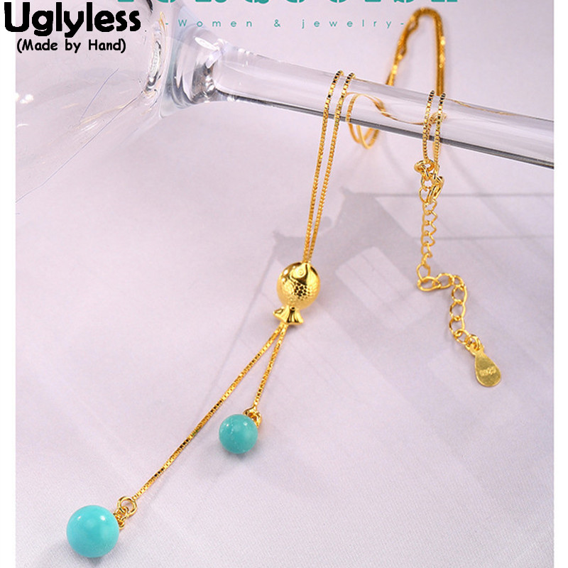 Uglyless Real 925 Sterling Silver Natural Turquoise Beads Necklaces Women Engraved Vintage Totem Fish Fine Jewelry Exotic Bijoux