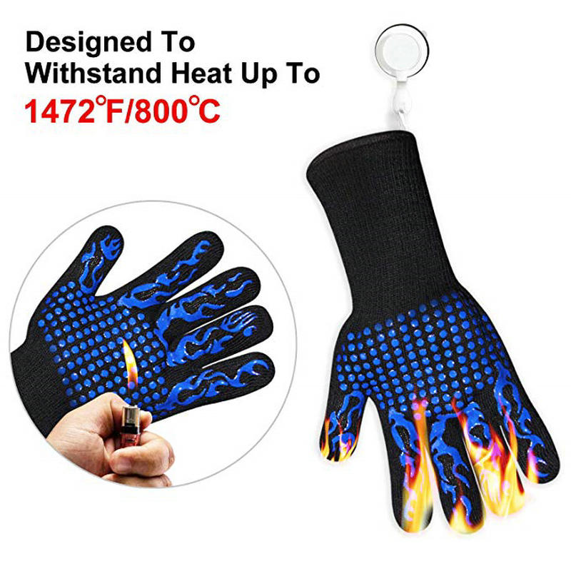 1 Pair BBQ Gloves 1472°F Heat-resistant Silicone Gloves Oven Gloves For BBQ Cooking Baking Fireplaces Frying Pans