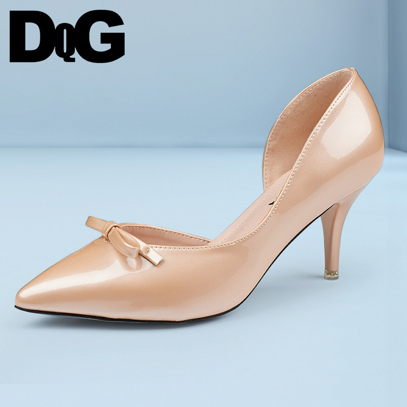 DQG 2018 Spring Slingbacks Women Shoes Thin High Heel Pointed Toe Pumps Casual Slip On Sweet Single shoes new hollow pointed stiletto elegant spring summer women pumps sweet bowknot high heeled shoes thin pink high heel shoes k88