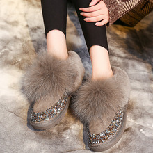 SWYIVY Shoes Women Snow Boots 2019 Woman Winter Boots Rabbit Fur Warm Velvet Casual Shoes Black Female Sequins Slip On Winter winter 2018 woman warm fox hair snow boots female slip on flat shoes woman casual knee high boots girls bling crystal boots