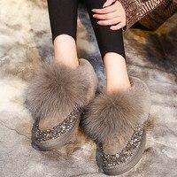 SWYIVY Shoes Women Snow Boots 2019 Woman Winter Boots Rabbit Fur Warm Velvet Casual Shoes Black Female Sequins Slip On Winter