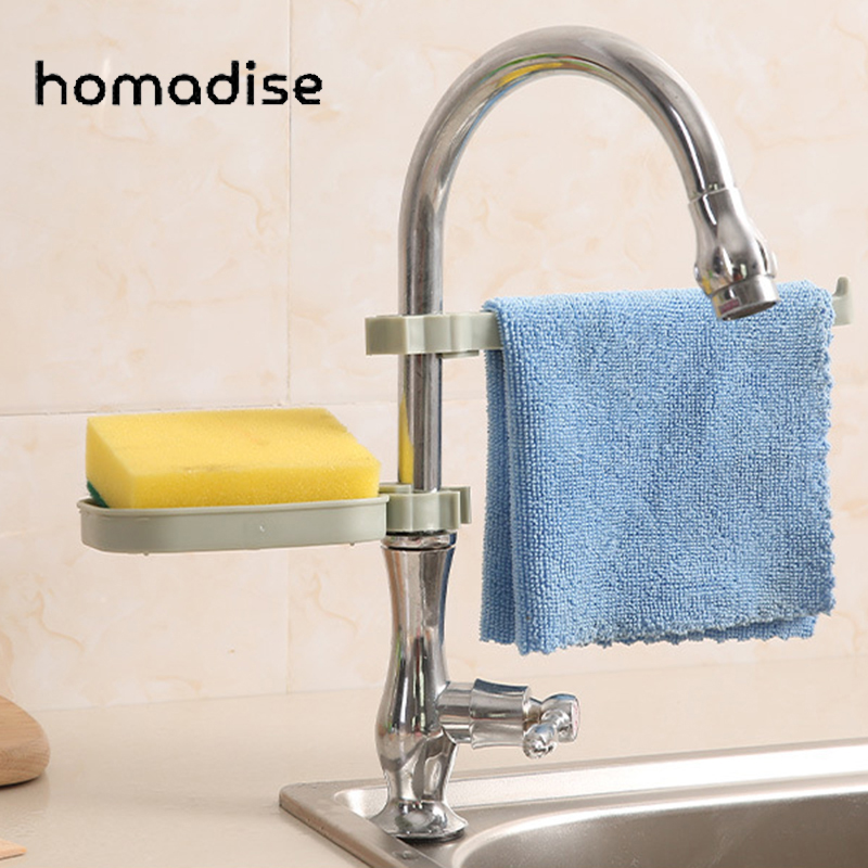 For Plastic Faucet Drain Storage Rack Kitchen Sink Sponge Rag Bracket Rack Bathroom Towel Soap Box Shelf Hanging Storage Holder
