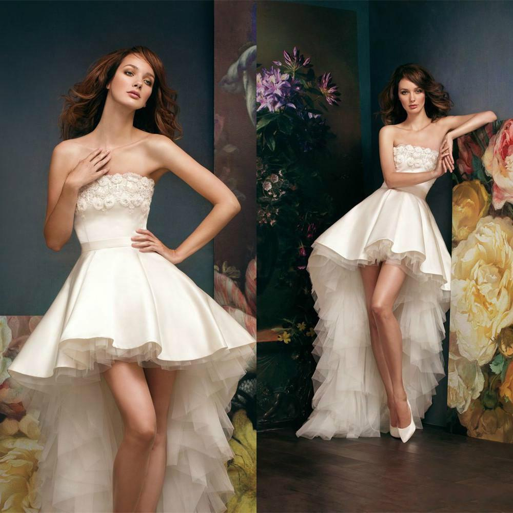 Short High Low Wedding Dresses Satin Applique Bateau