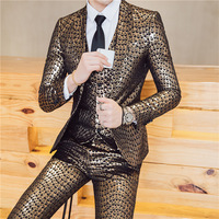 2018 men's hot stamping leisure three piece suit nightclubs tide male suit British fashion suits