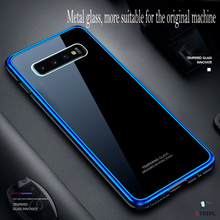 Business mens Samsung S10 tempered glass protective case fashion S10plus metal frame anti-fall mobile phone shell