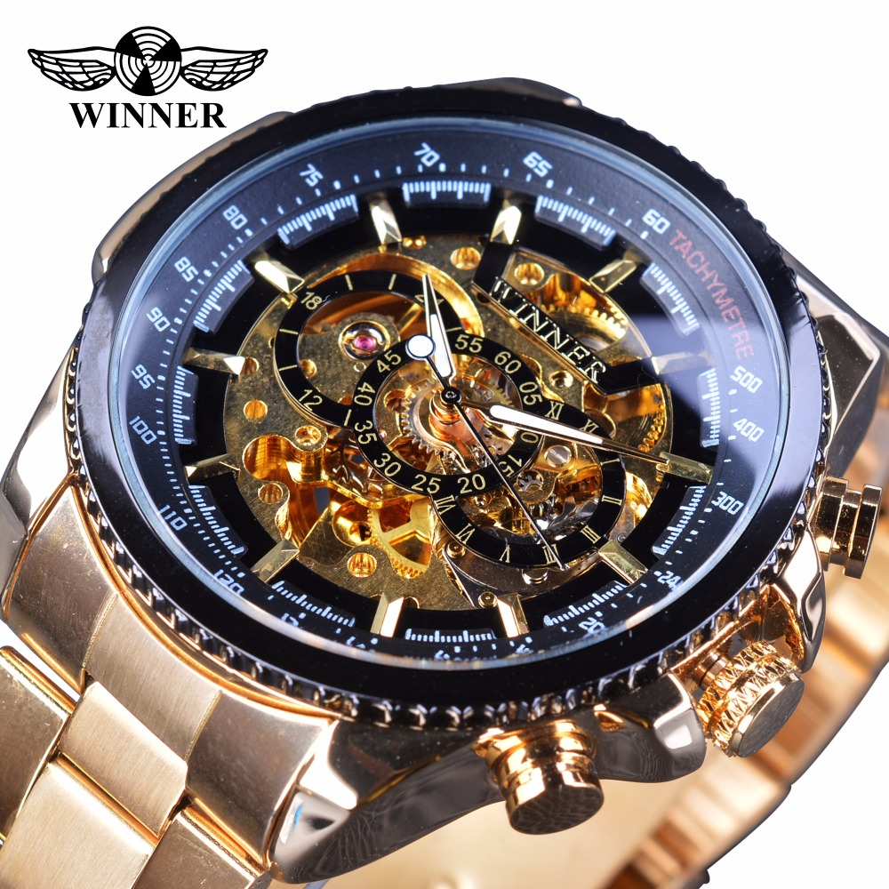 Winner Steampunk Fashion Hip Hop Design Golden Stainless Steel Gear Movement Men Skeleton Wristwatch Top Brand Luxury Automatic reedoon 1417 trend of the goddess hip hop sunshade sunglasses black golden