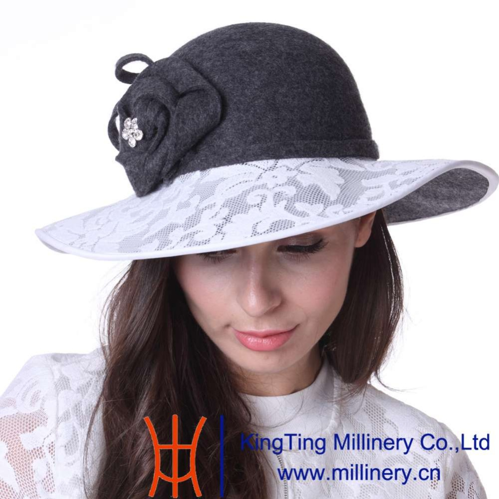 June s Young Women Hat Winter Outdoor Wool Hat Church Hat Wedding Hat dress  coat set Wide Brim Cool Style Elegant Lady Fedoras-in Fedoras from Apparel  ... ff72e46e01f