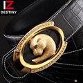 DESTINO 17 Cinturones de Diseñador Hombres Diseño Famoso Cocodrilo de la Marca de Lujo de la Correa de Cuero Genuino de la Alta Calidad Tachonado de Oro de Plata de La Boda