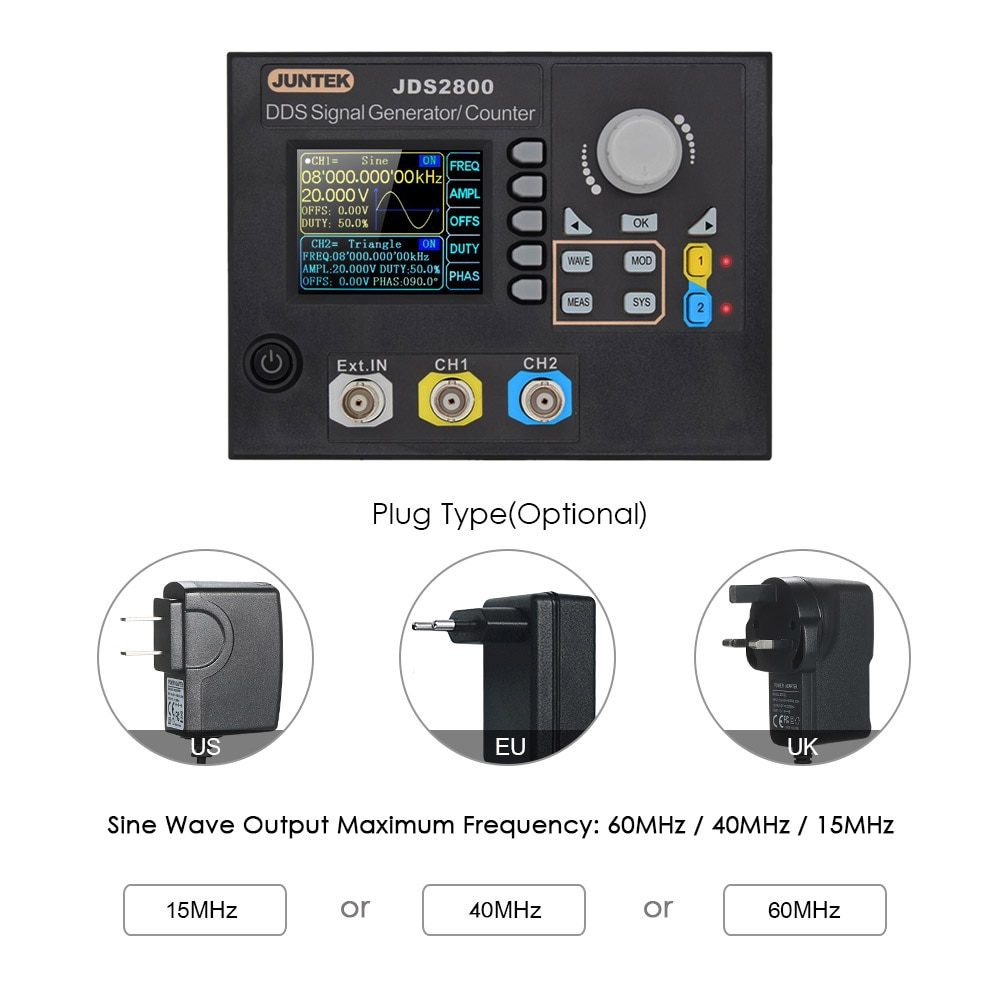 Digital Control Dual-channel DDS Function Arbitrary Signal Generator Frequency Generator Meter 60MHz 266MSa/sDigital Control Dual-channel DDS Function Arbitrary Signal Generator Frequency Generator Meter 60MHz 266MSa/s