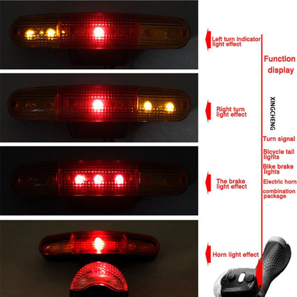 US $6 86 20% OFF|Free Ship 7 LED Bicycle Bike Turn Signal Directional Brake  Light Lamp 8 sound Horn-in Bicycle Light from Sports & Entertainment on