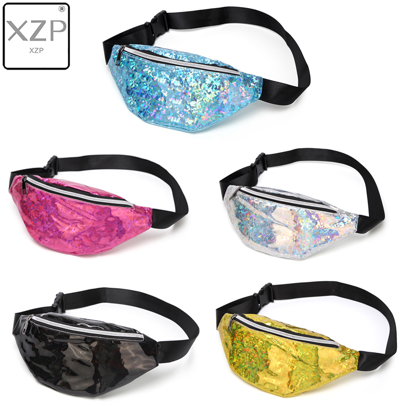 XZP 2019 New Fanny Pack Multi-function Steam Punk Leg Fashion Bag Reflective Laser Shoulder Bag Women's Belt Waist Bag Pochete