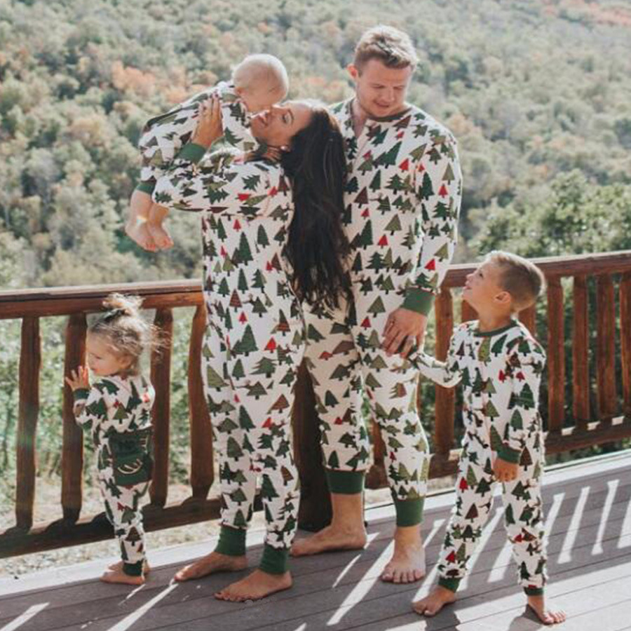 a25857285c Kids Christmas Trees Pajamas Family Matching Romper Nightwear -in ...